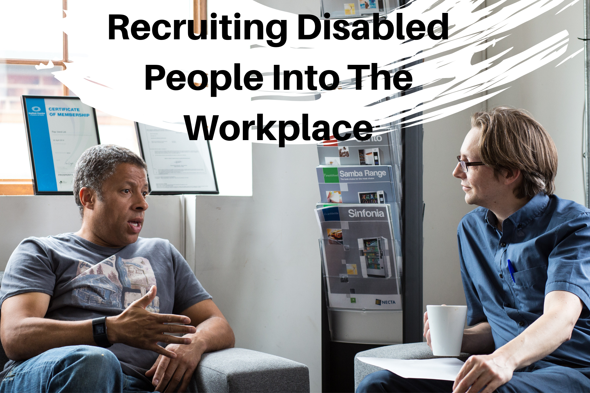 Recruiting DISABLED PEOPLE into the workplace infographic. Explained below.
